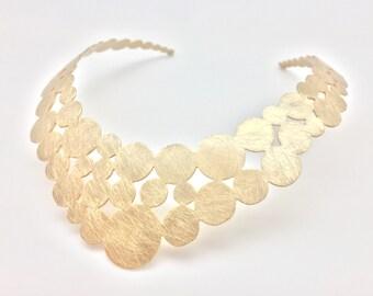 Circle Statement Choker // Brushed Gold Finish //Tarnish Resistant // 16 Inch Length