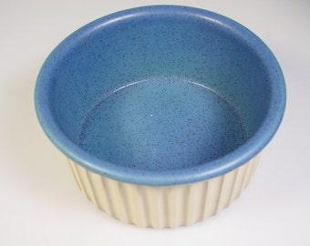"Bennington Potters Souffle Crock 7"" Baking Dish Blue speckle 1886 dg Vintage Vermont pottery made in USA"