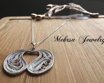 Silver Filigree Pendant, Heart Jewelry. Unique Jewelry, Paisley Necklace
