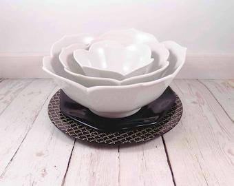 Lotus Bowls,white,ceramic,nesting,vintage,serving bowls,mid century modern,serving ware,lotus nesting bowls,bowl,bowls,white ceramic bowls