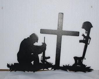 Soldier Praying Military Metal Wall Art