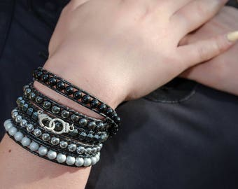 Bracelet wrap 5 turns leather beads of hematites and porcelain shades of grey Boho jewelry By Dodie