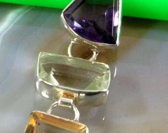 Amethyst, citrine, topaz, silver, pendant - 2909