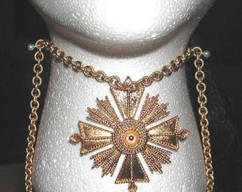 Vintage Gold Monet Medallion Necklace, Long Chain Link Necklace, Pendant Necklace, Women's Vintage Estate Jewelry