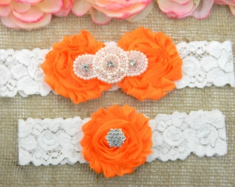 Orange Wedding Garter Set, Wedding Garter, Lace Bridal Garter Set, Keepsake Garter, Toss Garter, Pearl and Crystal Rhinestone Bridal Garter