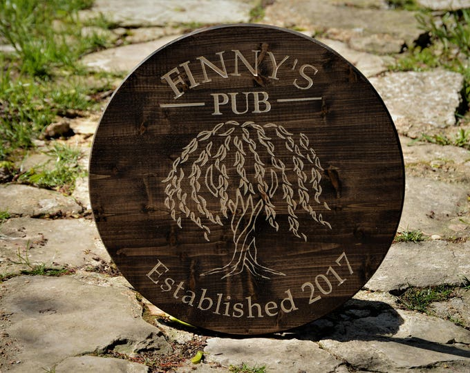 Man Cave Bar Sign Willow Tree Man Cave Bar Mancave Personalize Wood Bar Sign Gift Custom Carved Family Wood Last Name Established Sign