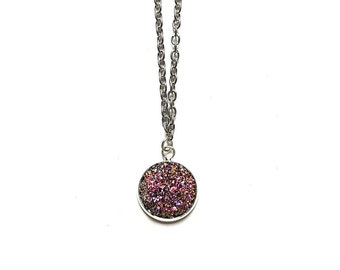 Pink Druzy Necklace // Druzy Jewelry // Druzy Jewellery // Pink Druzy // Pink Crystal Necklace