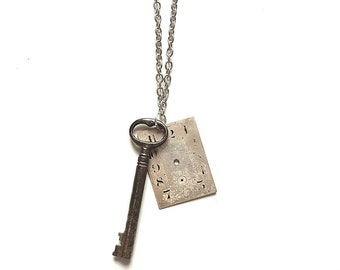Steampunk Charm Necklace // Steampunk Watch Part Necklace // Watch Part Jewelry // Skeleton Key Necklace // Antique Key Jewelry