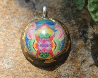 Cozmik Kittenz orgonite pendant. Print of original hand painted art of Julia Fulop