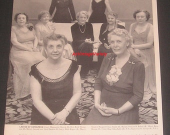 "1951 Nine Ladies of 82nd Congress Photo, Vintage Magazine Article, ""The Gentlewomen"", Historic Women in Politics / Government"