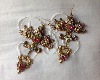 "RESERVED A.M, Marie Antoinette's earrings,"" Fleur de Lis and cherubs"", antique baroque brass fleur de lis, ,swarovski rhinestones, pearls"