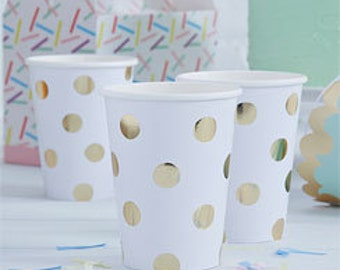 Polka dot party cups, silver dots paper cups, gold dots paper cups, gold foil paper cups, silver foil paper cups,