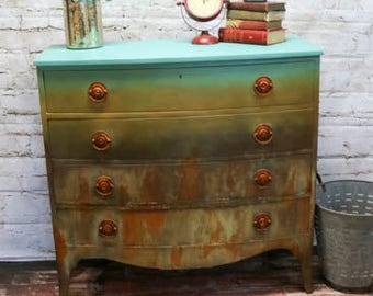 Custom Painted dresser with a blended industrial look