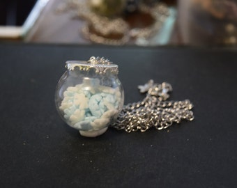 """Glass """"Sweet sweet"""" white and Blue Snowflake Sphere necklace"""