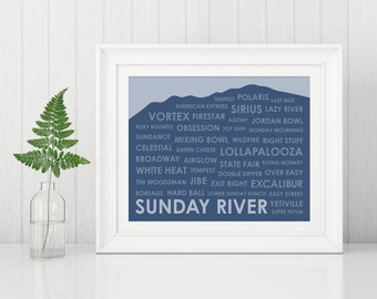 Sunday River Ski Trails ~ Sunday River Art Print ~ Gift for Skier ~ Maine Ski Art ~ Gift for Skier ~ Ski Gift ~ Sunday River Poster