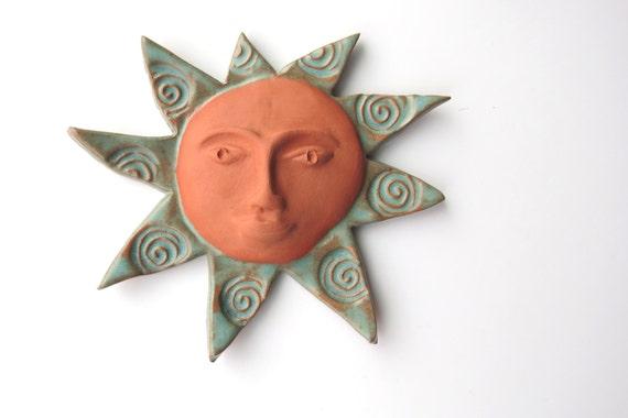 Ceramic Ceramic Wall Art Pottery Sun Terracotta Sun Face