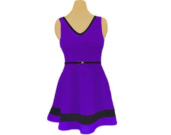Purple + Black Skater Dress
