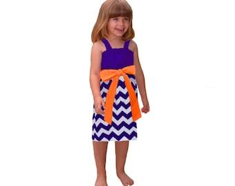 Purple + Orange Chevron Game Day Dress- Girls