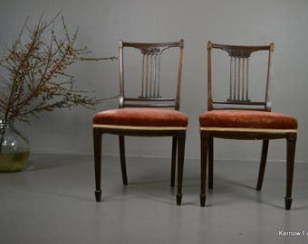 Pair Antique Sheraton Style Dining Chairs