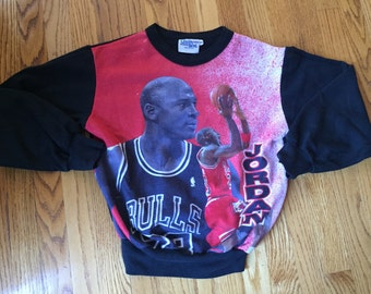 RARE Vtg 90s Michael Jordan Chalk Line Fanimation Sweatshirt Kids L/ Womens S Chicago Bulls // champion jersey starter retro shoes jacket
