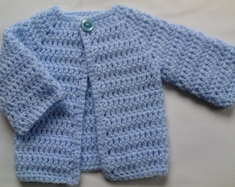 Crochet Baby Sweater PATTERN tutorial PDF file baby blue coat cardigan
