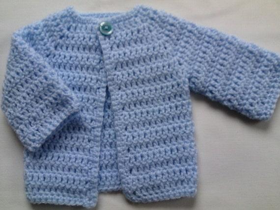 Crochet Baby Sweater PATTERN tutorial PDF file baby blue coat
