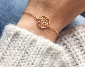 Bracelet fine tree of life, fine chain plaqued gold 750 / gold plated bangle