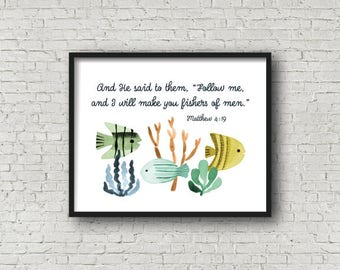 Ocean Nursery Decor, Printable Art, Watercolor Fish, Matthew 4:19, Digital Art, Under the Sea Nursery, Sea Creatures, Scripture Nursery Art