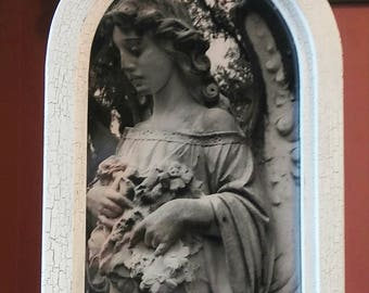 Custom hand made arched frame with photography from Bonaventure cemetery in Savannah Georgia
