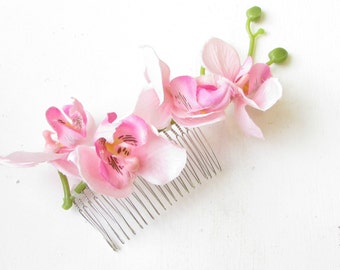 Light Pink Long Orchid Flower Hair Comb Fascinator Headpiece Rockabilly Vtg 1275