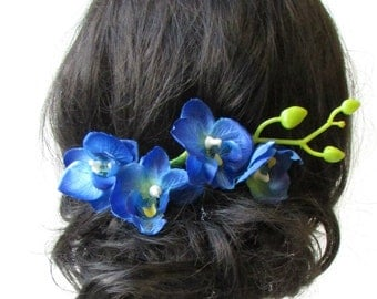 Long Blue Orchid Flower Stem Hair Comb Fascinator Headpiece Rockabilly 50s 1584