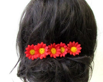 5 x Red Daisy Flower Hair Pins Chrysanthemum Floral 1950s Bridesmaid Set 1756