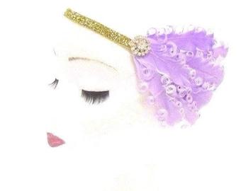 Lilac Light Purple Gold White Feather Headband 1920s Flapper Headpiece Vtg 2804