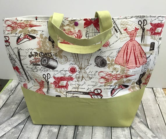 Sewing Notions Canvas Tote Bag,Sewing Tote Canvas,Tote Bag Canvas,Tote Bag with pocket,Project Bag Knitting,Project Bag Crochet,Toad Hollow