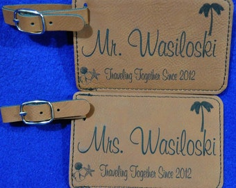 Wedding Gifts For Couple ~ Luggage Tag ~ Bridal Party Gift ~ Leather Tag ~ Bride And Groom Tag ~ Destination Wedding ~ Travel Gift ~ Gifts