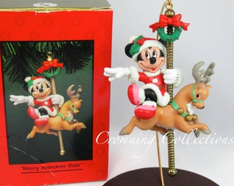 Enesco Merry Reindeer Ride Minnie Mouse on a Carousel Disney Ornament Horse NIB Treasury of Christmas Mickey & Co Vintage Collection