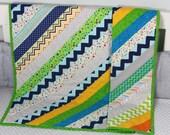 Baby Quilt, Handmade Quilt, Modern Quilt, Baby Gift, Newborn Gift, Baby Shower Gift, Holiday Baby Gift, Gender Neutral Quilt, Green Quilt