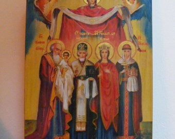 "Personal Family Icon 24х32х2см - custom made in order-  orthodox icons  religious icons of hot colors directly on solid wood ( 9.6""x12x0.8"")"