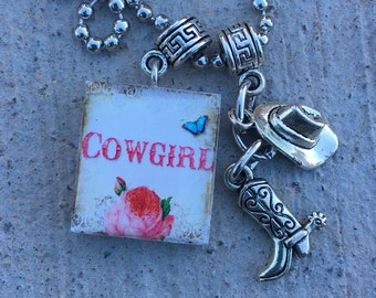 Cowgirl jewelry, Rodeo Jewelry, Cowgirl Up, Western Pendant, Cowboy boots and hat, Wild West Necklace