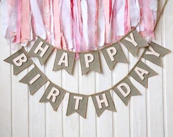 happy birthday banner pink- birthday banner - happy birthday sign - happy birthday decor - happy birthday bunting, girl birthday banner