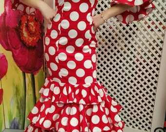 Dress for flamenco in red with polka dot white