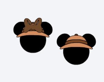 disney, mickey and minnie safari hats, safari mouse ears, animal kingdom ears,  iron on decal, disney iron on, vinyl iron on