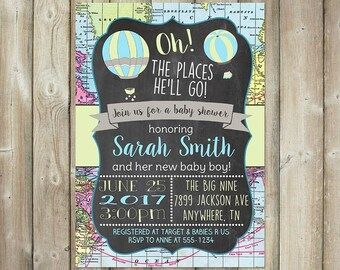 Oh the Places He'll Go Baby Shower Invitation - Hot Air Balloons - DIGITAL FILE