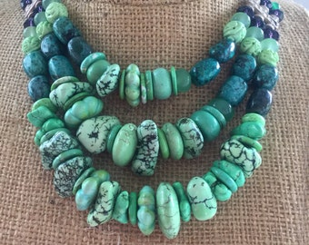 Shades and shapes turquoise howlite multi strand necklace