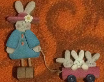 Vintage Hand Made Wood Easter Bunny Rabbit  with Baby Rabbits