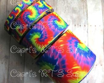 "3/8"" 5/8"" 7/8"" 1.5"" 3"" 3 Inch Rainbow Tie Dye Summer US Designer Grosgrain Ribbon"