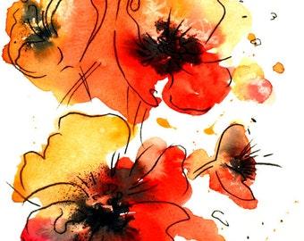 ORIGINAL Watercolor Painting,POPPIES ,Modern Flowers painting
