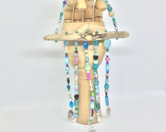 Driftwood Wind chime, Beaded Mobile, Seaside Mobile, Wind Chime, Silver Charms, Paper Beads, Drift Wood Wind Chime, Driftwood, Sun Catcher