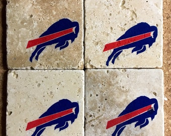 Buffalo Bills Coasters ~  Set of 4 Stone Coasters ~Coasters ~ Natural Stone Tile Coasters ~ Football Coasters ~