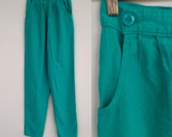 Vintage 80s Green Trousers, High Waisted Trousers, Green Pants, Mom Trousers, Retro Trousers, Hipster Trousers, Size 4
